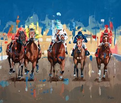 Race Time by Pete Hawkins - Original Painting on Box Canvas sized 28x24 inches. Available from Whitewall Galleries